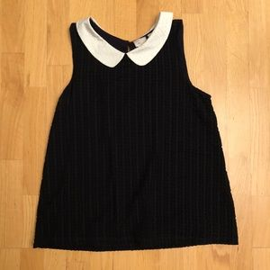 Anthropologie Black top with Peter Pan Collar